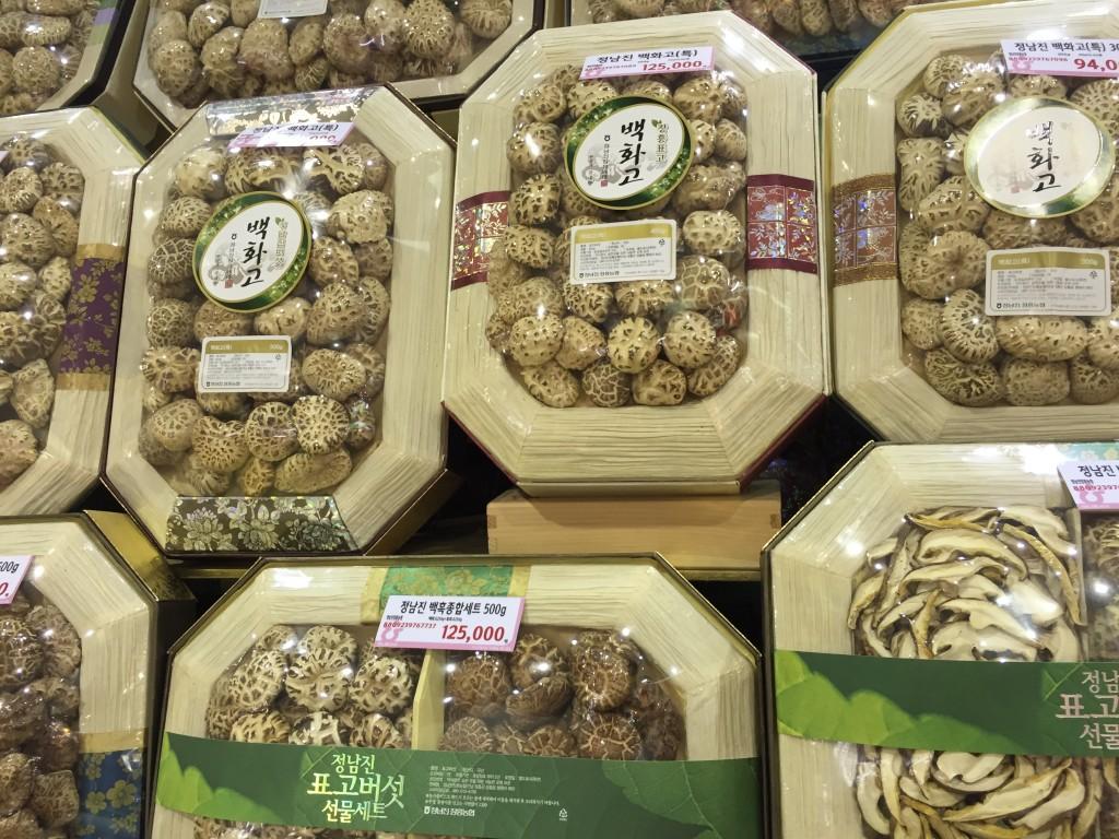 韓国の椎茸売場